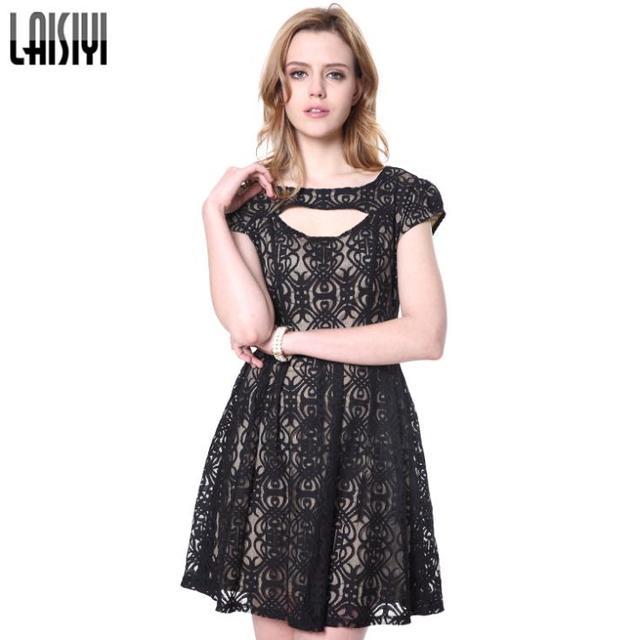LAISIYI New Fashion 2017 Women dresses Mesh Geometric Embroider Elegant  Black Lace Dress vestidos DR10079 377655ae45ca