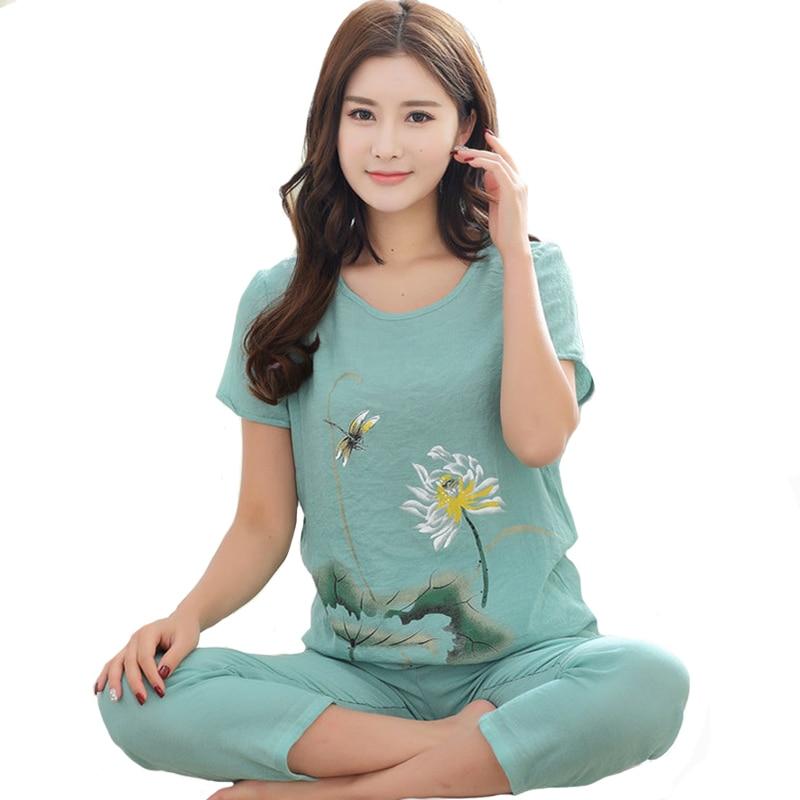 New Green Print Female Pajamas Set Sleepwear Chinese Women Cotton Linen Pyjamas Suit Flower Nightwear M L XL XXL YZ089