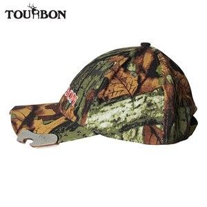 Tourbon chasse Camo en plein air chapeau de pêche avec 5 LED lumières randonnée escalade adulte casquette w/bière décapsuleur pour la marche de nuit