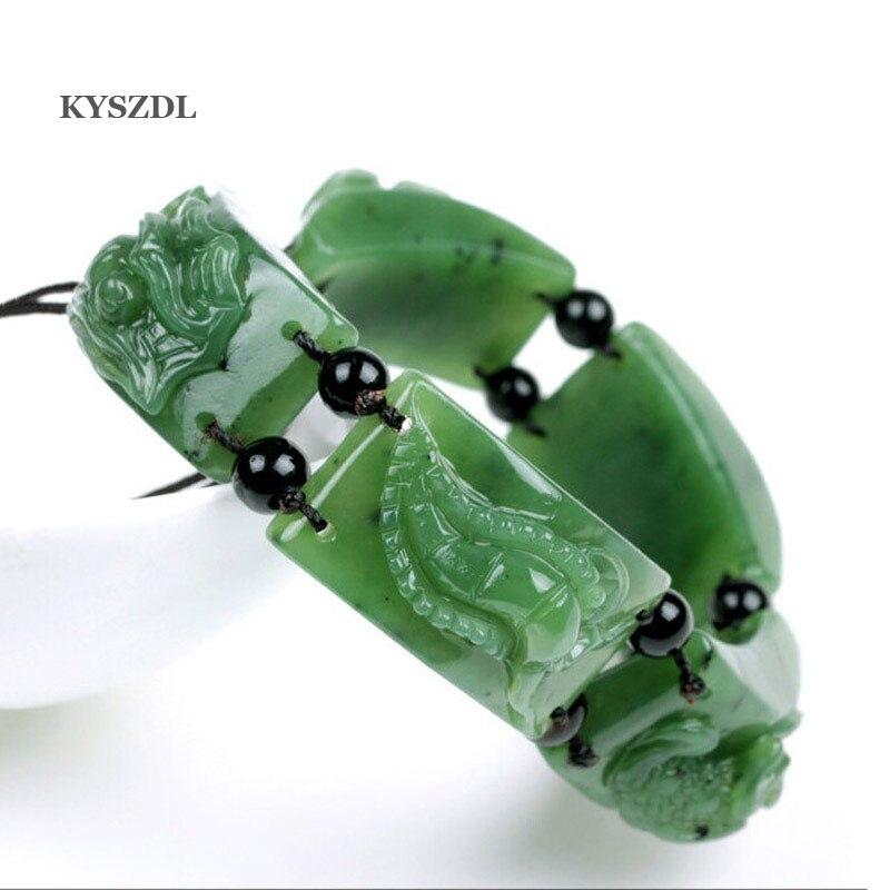 KYSZDL Beautiful natural green stone scorpions centipedes toad stone Bracelet Hetian yu men and women bracelet luminous pearl bracelet stone bracelet rare stone bracelet