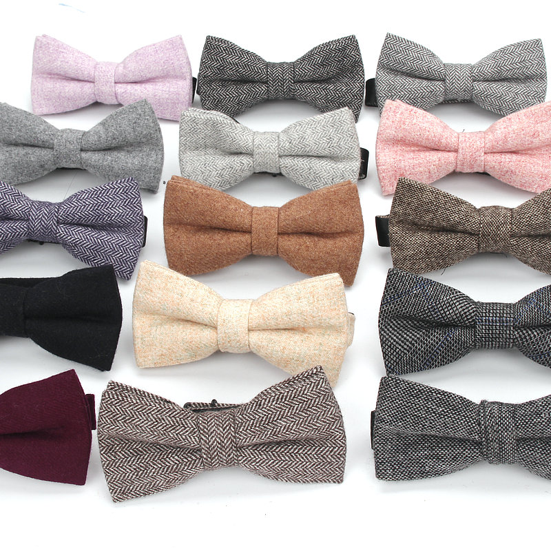 New Wool Bowties For Wedding Business Butterfly Solid Plaid Bow Tie For Men Woolen Cravat England Style Stripe Bow Tie Butterfly