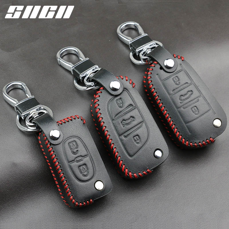 купить SNCN Genuine Leather Car Key Case Covers Keychain For Peugeot 107 207 307 308 407 607 206 208 301 406 407 408 508 2008 3008 4008 онлайн