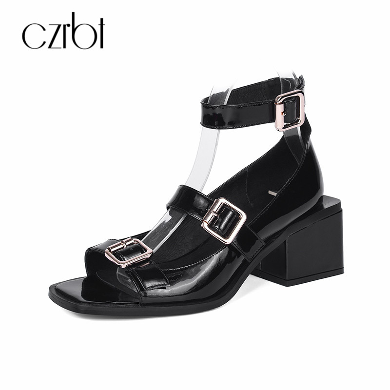 CZRBT Thick Heel Plus Size Shoes 2018 High Heels 6cm Women Patent Leather Summer Sandals Ladies Gladiator Peep Toe Women Shoes new fashion summer shoes women shoes peep toe patent leather med heel women sandals cut outs gladiator small big size 32 44 0372