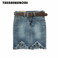 THENANBURONE High Quality Denim Mini Skirt Women Basic High Waist Blue Jeans Skirt 2017 Summer New