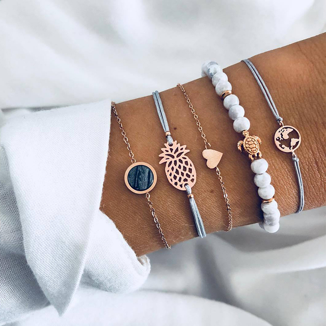 5 Pcs/ Set Personality Turtle Heart Map Pineapple Bead Chain Leather Multilayer Bracelet Set Women Fashion Clothing Accessories