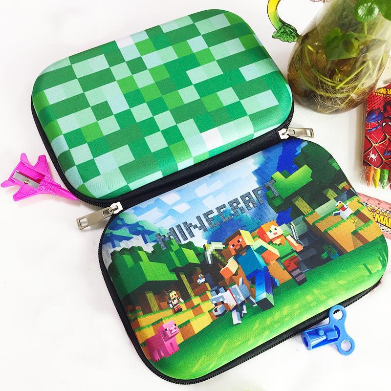 Kawaii School Pencil Case Zipper Green Camo Storage Bag EVA Pencilcase For Kids Pencil Box Student Gift School Stationery
