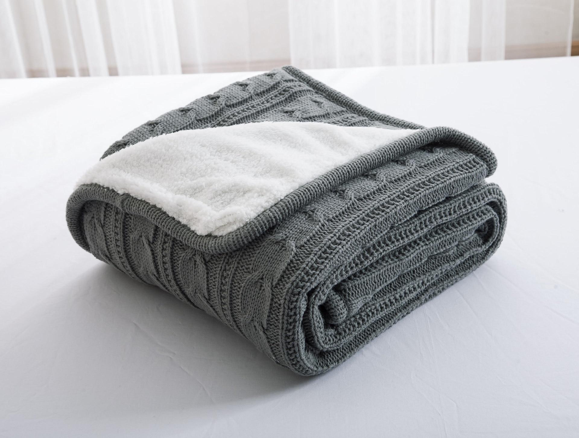 2017 Горячая 100% хлопок высокого качества овечье вельветовое Одеяла зимой тепло вязаный шерстяной Одеяло диван/покрывало одеяло вязаное изделие одеяло - 2