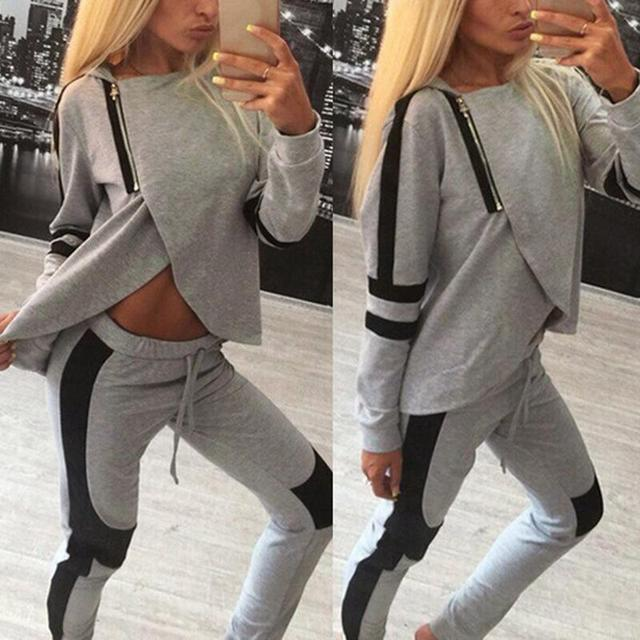2017 New Arrival Women Tracksuits Sportsuit Autumn Spring Ladies Zipper Split Hooded Sweatshirts Casual Female Sportswear