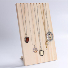 Unfinished Wood Jewelry Necklace Pendant Display Stand Holder Rack 9 Hooks for necklace pendant chain bracelet