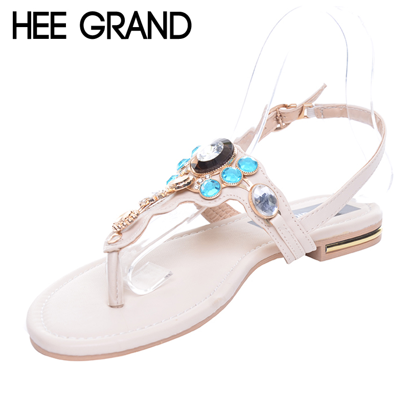 HEE GRAND Rhinestones Women Sandals Summer Style Flat With Flip Flops Fashion Crystal Shoes XWZ3562 2017 fashion melissa jelly rhinestones flip flops bow glitter sandals women stransparent flat single shoes