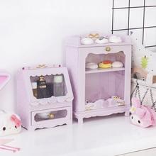 Caja de madera de nadador rosa para dibujos de Japón, decoración del hogar, ropa de muñecas DIY, Kit de muñecas domésticas para niñas, colección de accesorios