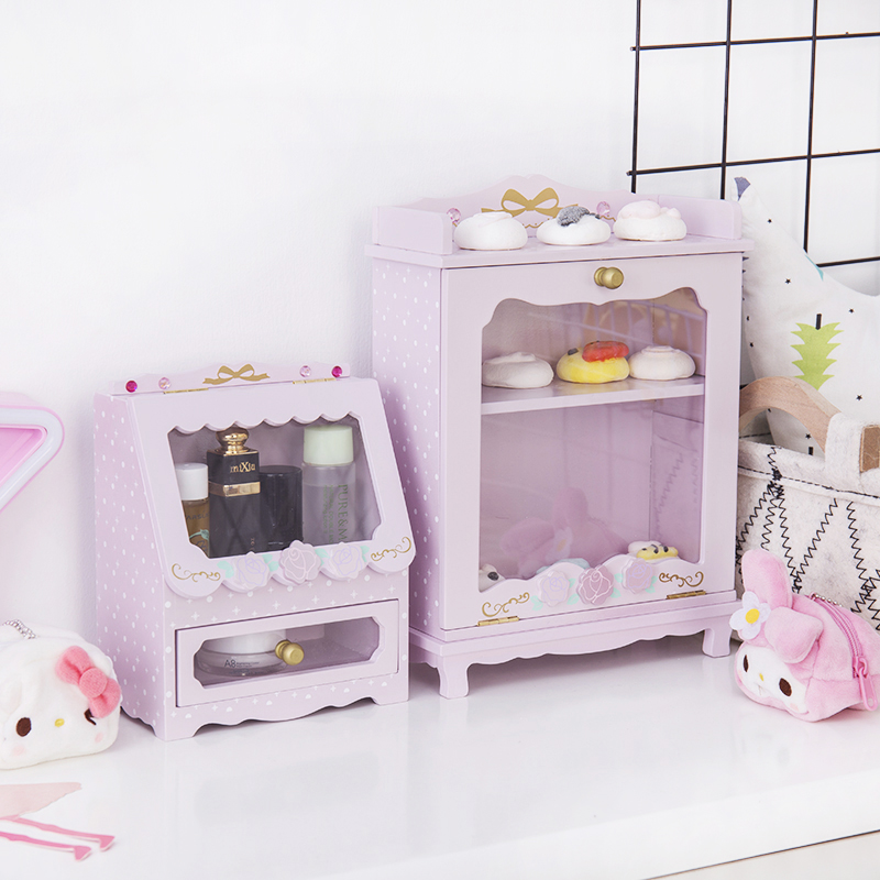 Japan Cartoon Pink Swimmer Wood Box Home Decoration DIY Dolls Clothes Girls Domestic Doll Kit Accessories Collection
