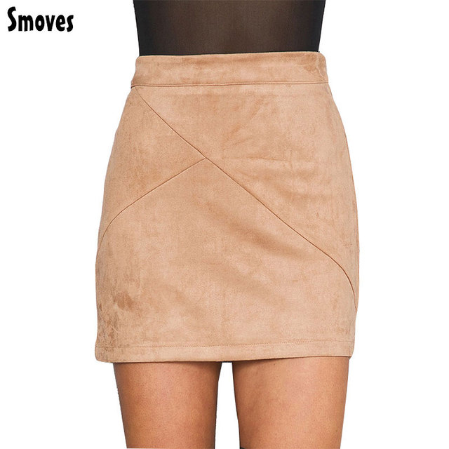 Smoves womens vintage retro cintura alta patchwork falda de gamuza grueso invierno cálido otoño sping casual mini faldas lápiz gs126