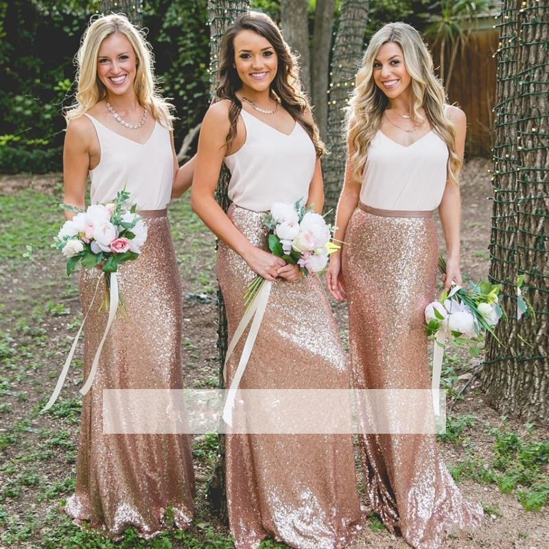 Rose Gold 2019 Cheap   Bridesmaid     Dresses   Under 50 Sheath V-neck Chiffon Sequins Long Wedding Party   Dresses   For Women