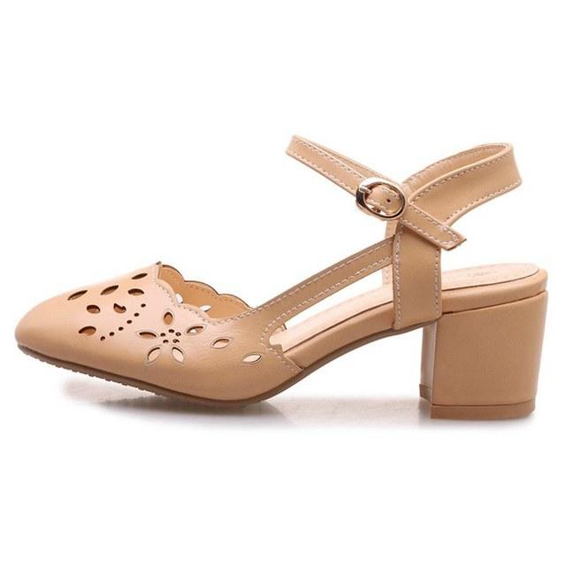 ASILETO  Women Sandals Summer Med Heels Closed Toe Women's Sandals Low Block Heel Woman Shoes B417t