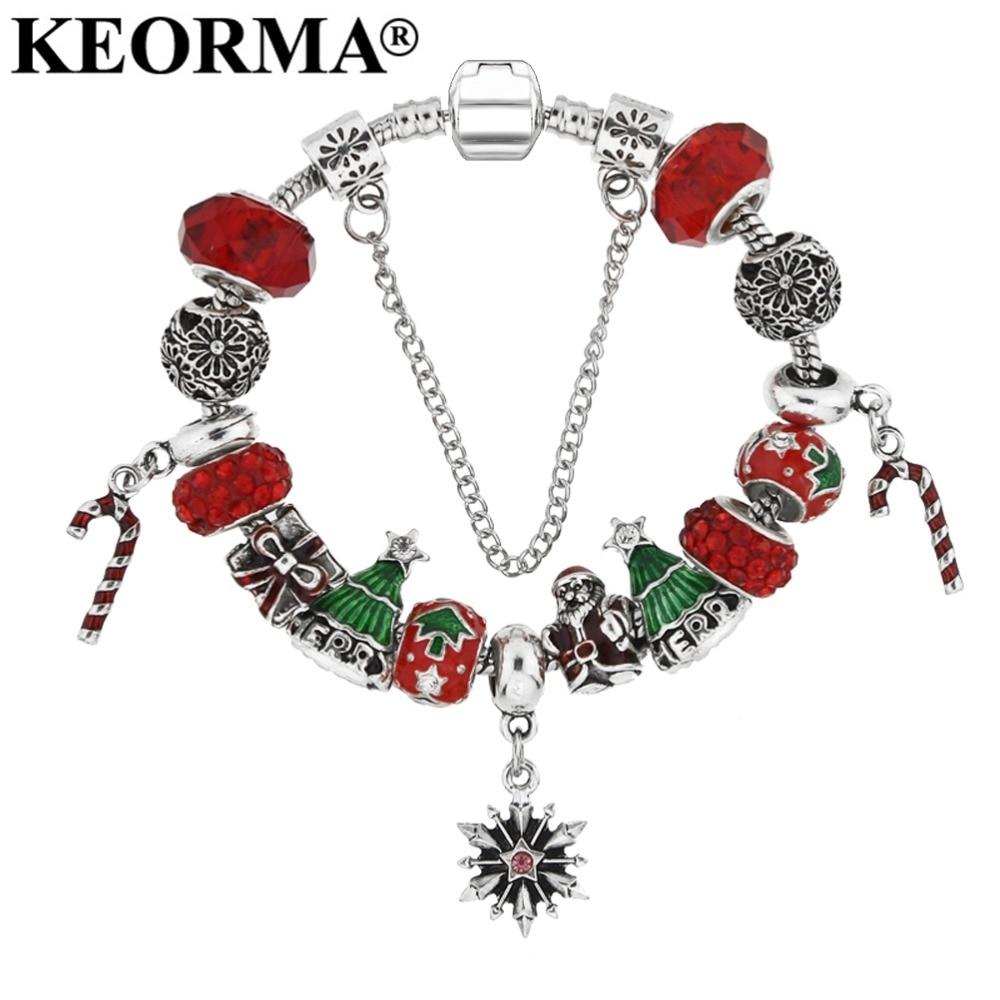 KEORMA אדום צמידי קמעות חרוזים אירופאי אלגנטי אופנה עיצוב KM105 צמיד צמיד עם אריזת שקית מתנה למתנה לחג המולד