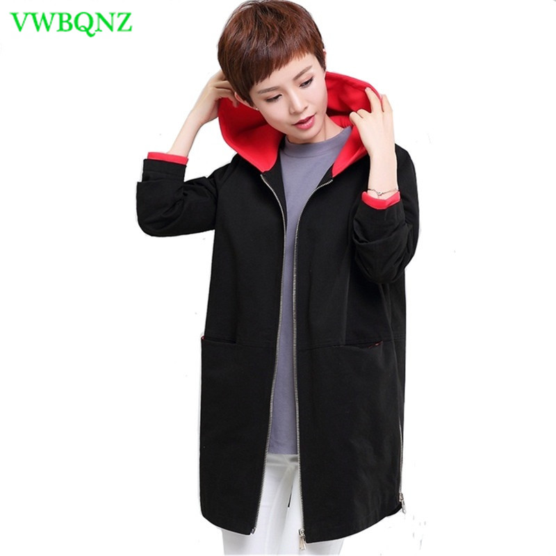 Casual Women's Hooded Windbreaker Coats 2018 New Spring Autumn Long-sleeve Patchwork Loose   Trench   Large size Female Overcoat 4XL