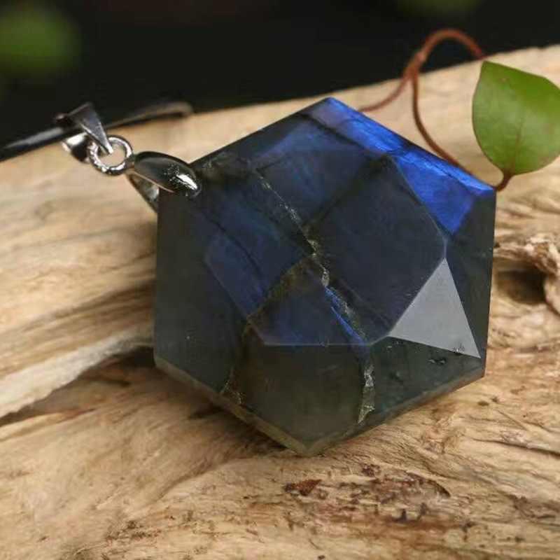 A + naturalny kamień księżycowy kamień kwarcowy wisiorki, labradoryt duży wisiorek satelitarny, mężczyźni modny wisiorek z liny
