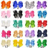 New 20pcs/lot 6.8 Large Gold Five pointed Star Print Grosgrain Ribbon Hair Bows With Clip Kids Girls Handmade Hair Accessories