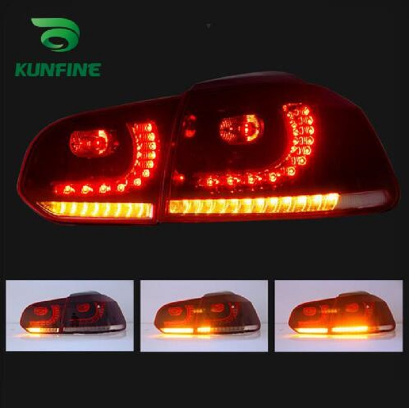Pair Of Car Tail Light Assembly For VOLKSWAGEN GOLF 6 2008-2013 LED Brake Light Flowing water flicker With Turning Signal Light kunfine pair of car tail light assembly for toyota corolla 2014 2015 2016 led brake light with turning signal light