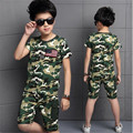 summer 2016 new fashion boys clothes children camouflage suit