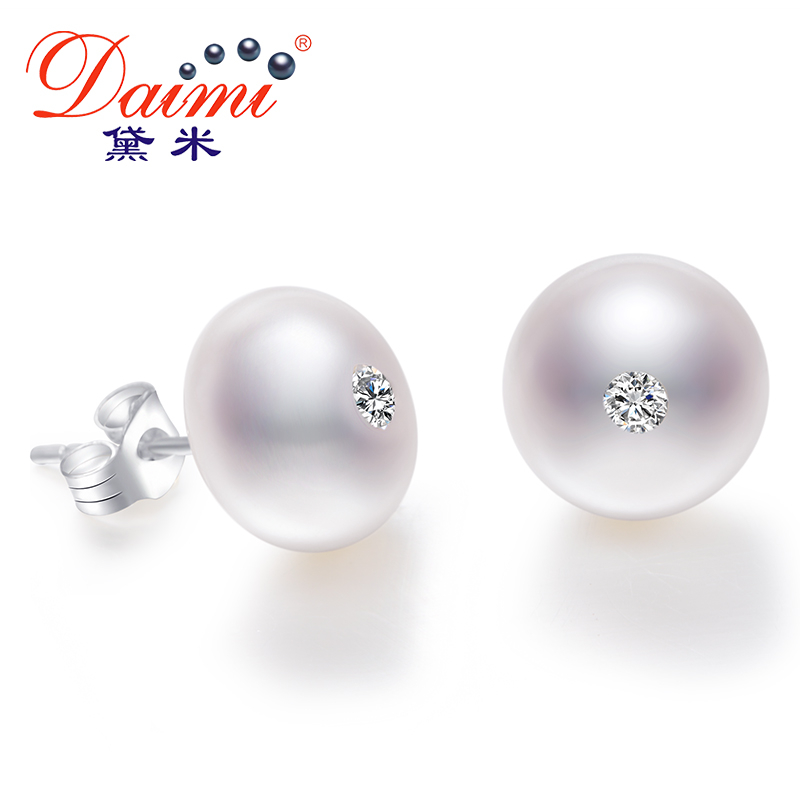 DAIMI 9-10mm Anting Mutiara Besar Alami Kristal Mengkilap Anting 100% Asli 925 Sterling Silver Studs Earrings Kantor Chic Jewel