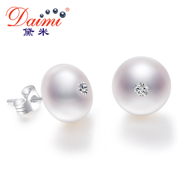 DAIMI 9-10mm Natural Big Pearl Earrings Shiny Crystal Earrings 100% Genuine 925 Sterling Silver Studs Earrings Office Chic Jewel