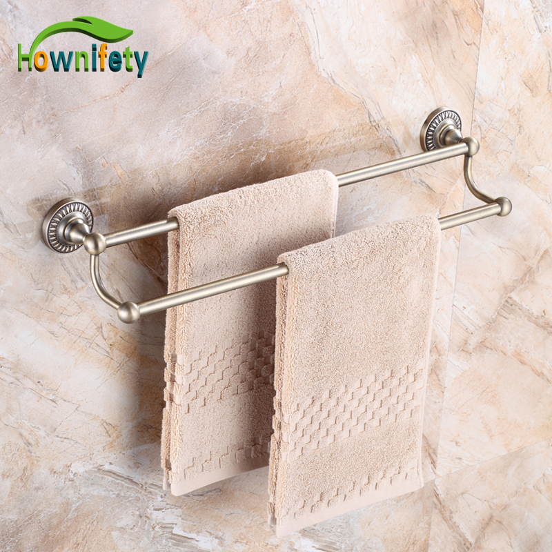Classical Antique Bronze Bath Dual Tiers Towel Bar Wall Mount Towel Hanger new luxury classical antique bronze push down pop up drainer waste without overflow