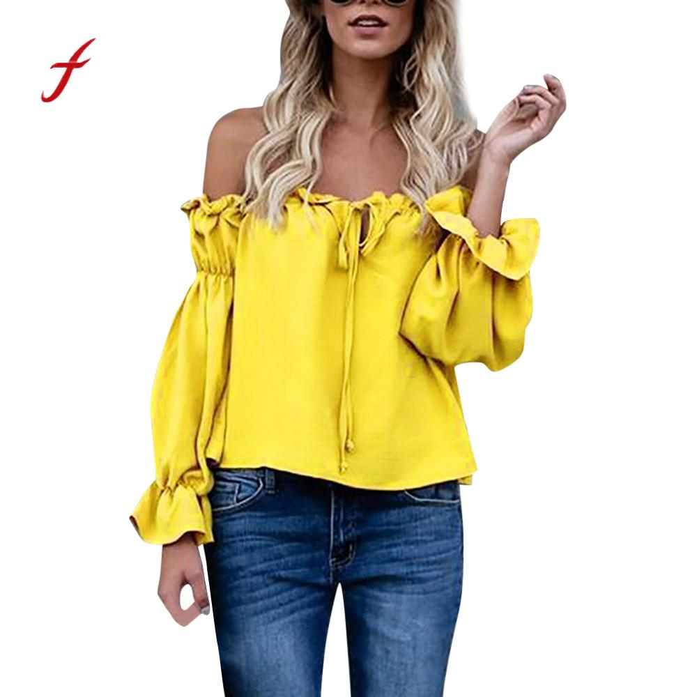 Women Sweet Tops Off Shoulder Shirt Full Sleeve Chiffon Ruffle Frill Tie Strap Top Girls Female Pullover Clothes