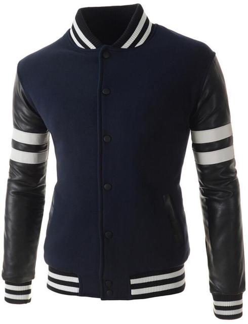 Asian Size] New Men Sweater PU Leather Collar masculino ...