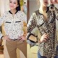 Europa e estados unidos mulheres estrelas feminino leopardo camisa de manga chiffon camisa