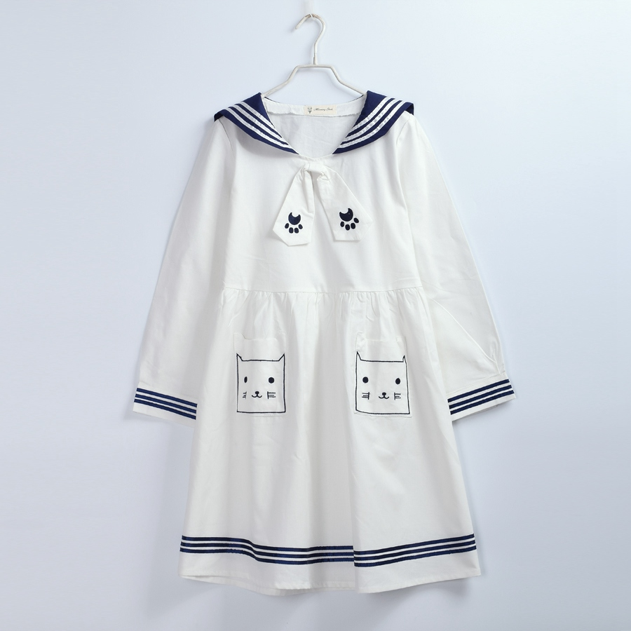 Japan Style Harajuku Sailor Dress Preppy Cute Cartoon Cat Embroidered Casual Dresses White/Blue