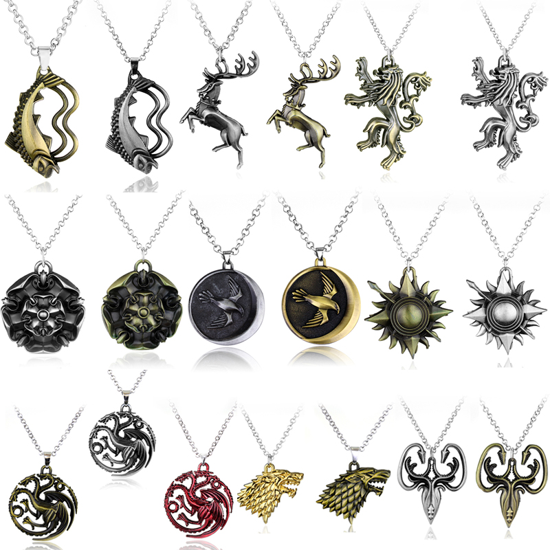 New Martel Kalung Game of Thrones Kalung Lagu Es dan Api Baratheon Stark Arryn Tully Greyjoy Sweater Rantai Pria Hadiah