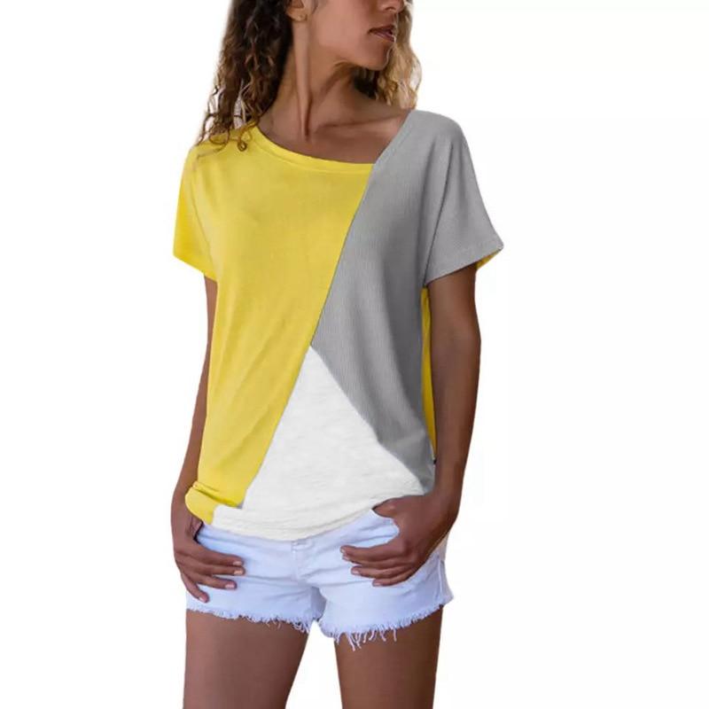 Summer Plus Size Women Shirt Loose Color Block Patchwork Female Blouses Short Sleeve V-neck Blusas Women Clothes 2019 SJ2261M