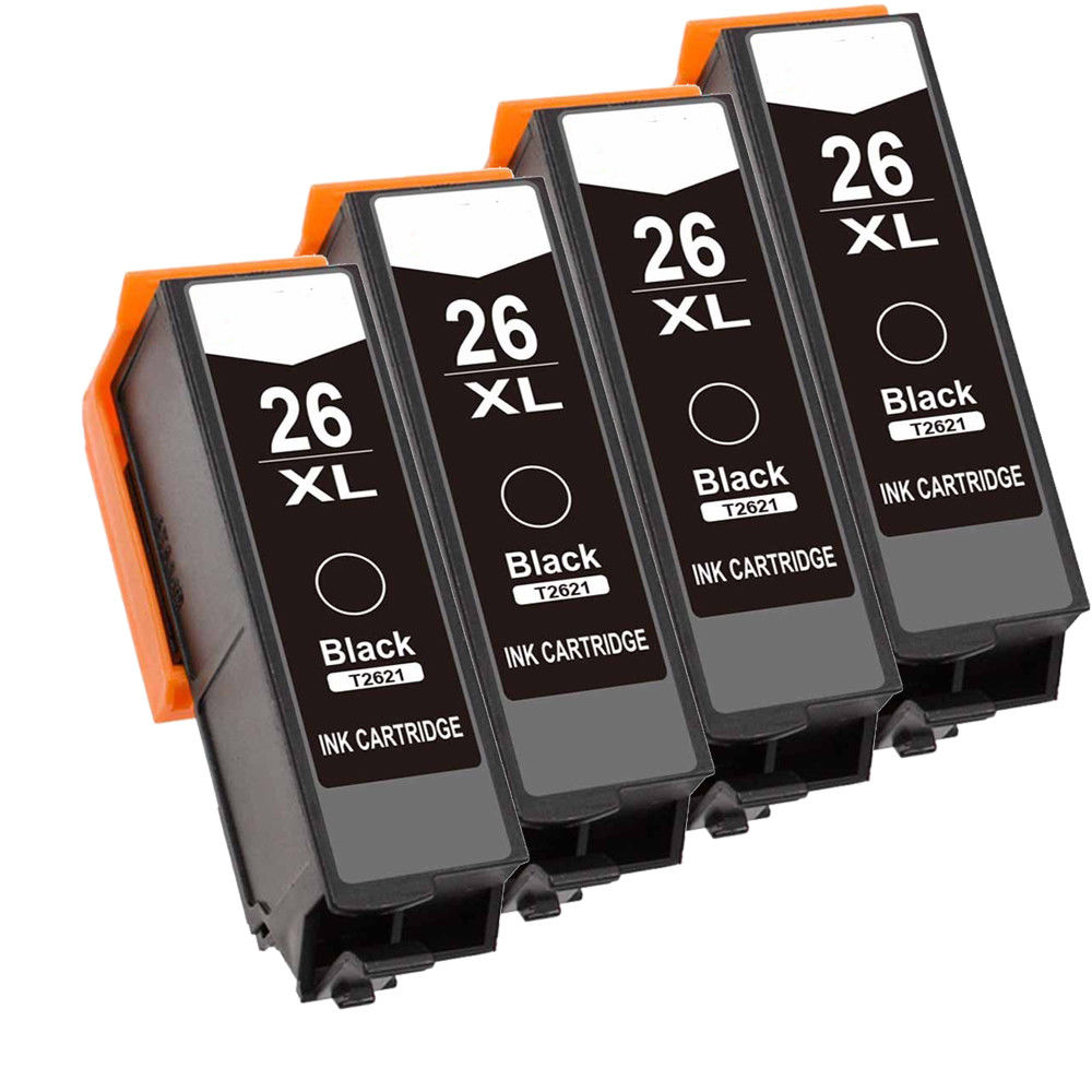 4x Black Non oem T2621 ink 26 XL Compatible for <font><b>Epson</b></font> <font><b>XP</b></font>-510 <font><b>XP</b></font>-<font><b>610</b></font> <font><b>XP</b></font>-625 <font><b>XP</b></font>-700 <font><b>XP</b></font>-615 image