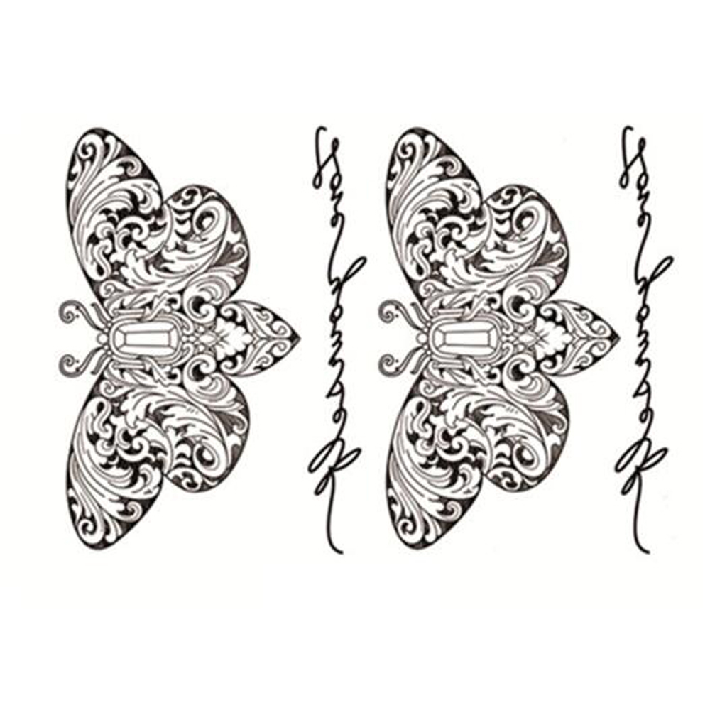 Yeeech Temporary Tattoos Sticker for Women Fake Sexy Butterfly Word Designs Black White Arm Leg Back Small Long Lasting Body Art