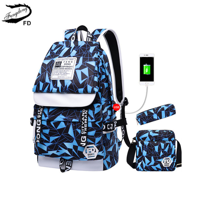 Aliexpress.com : Buy FengDong 3 pcs bag set men school bag boy ...