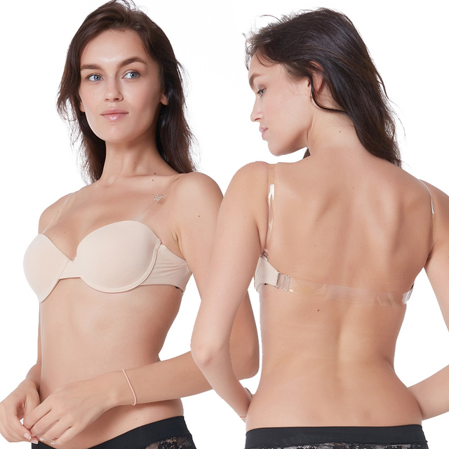 97ec946237 Invisible Push Strapless Bra Seamless Convertible Transparent Back Straps Backless  Bras Seamless Underwire