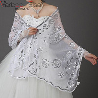 Beyaz Gelin Shrug Düğün Akşam Wrap Bolero Ceket Bayan Moda Düğün Dantel Şal beyaz sequine aplike Düğün Şal