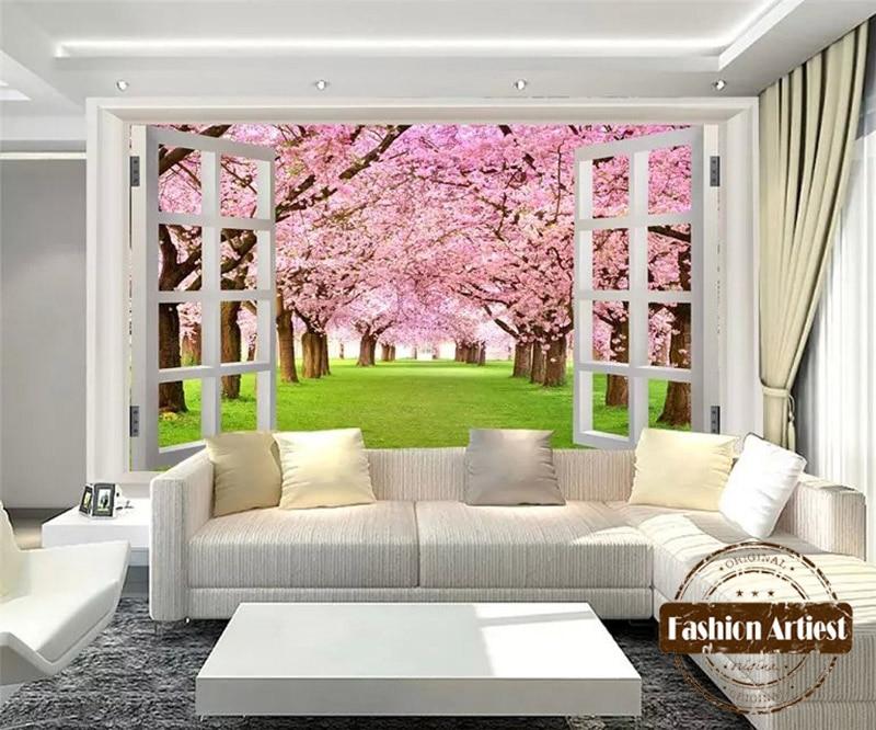 Custom 3d floral wallpaper mural sakura forest pink flower grassland out of window tv sofa bedroom living room cafe background love of the grassland 600g