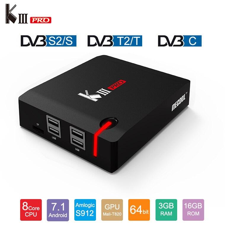 MECOOL KIII PRO DVB-T2 DVB-S2 DVB-C Android 7.1 TV Box 3 gb 16 gb Amlogic S912 Octa Core Wifi 4 k Combo NEWCAMD Biss chiave PowerVU