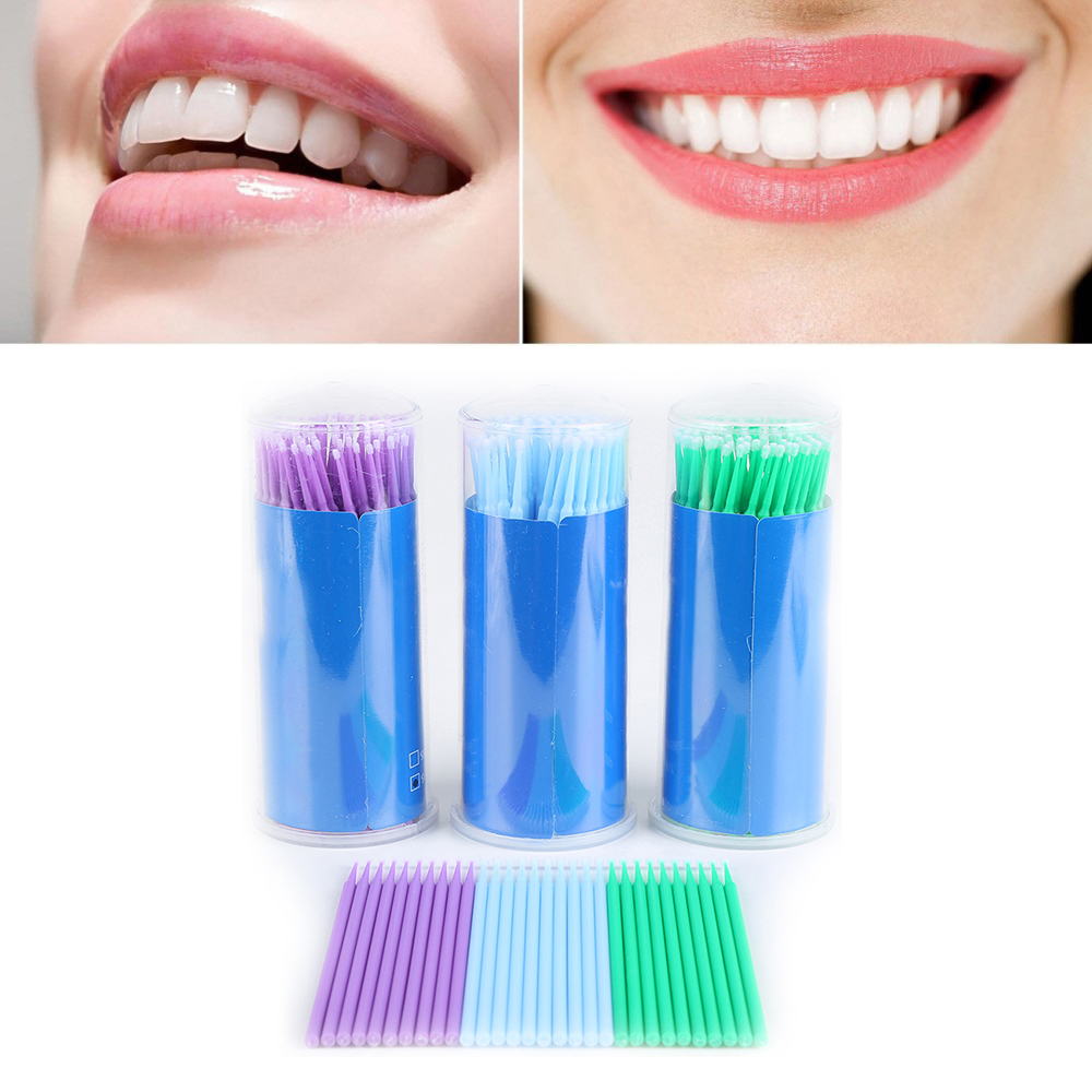 100PCS Dental Lab Disposable Micro Applicator Brush Eyelash Eyelash Extension Tools Brush Applicator Stick Teeth WhiteningTSLM1