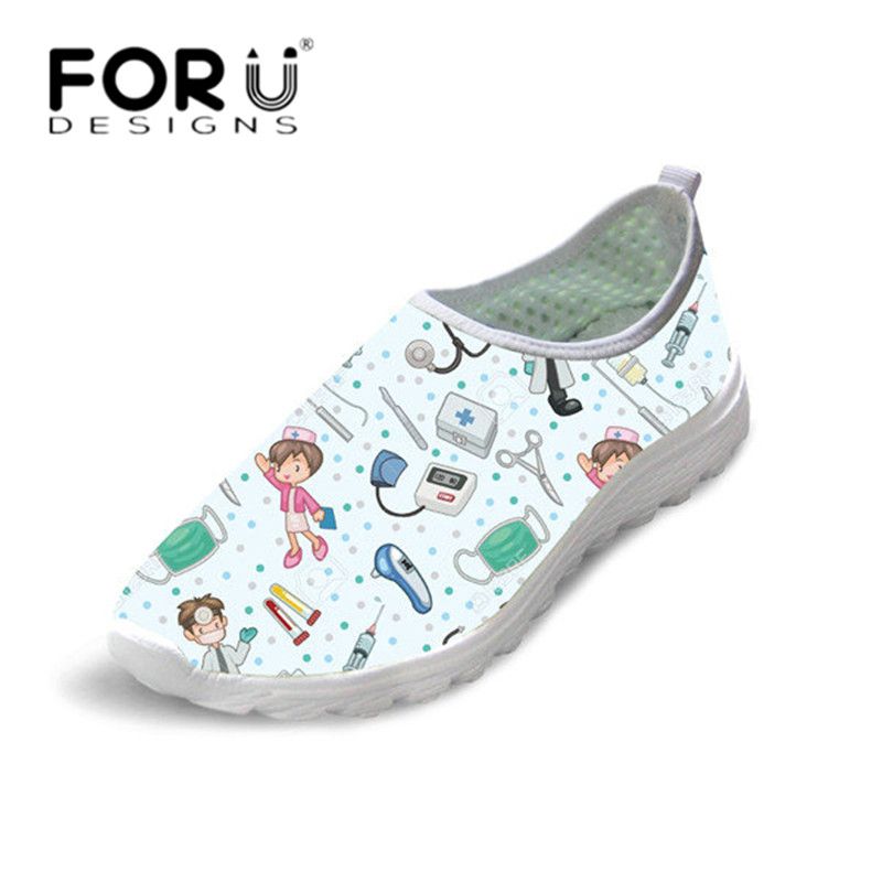 FORUDESIGNS Light Mesh Sneakers 3D Cartoon Nurse Print Women Spring Summer Slip-on Flat Shoes Comfortable Walking Zapatos Flats forudesigns women casual sneaker cartoon cute nurse printed flats fashion women s summer comfortable breathable girls flat shoes
