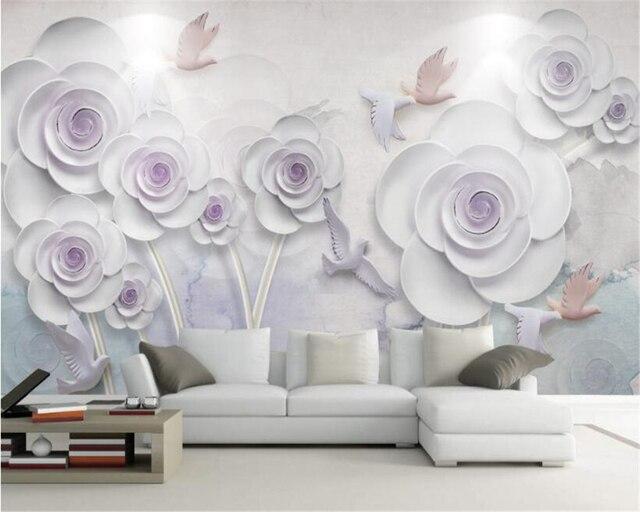 Dekorative Bilder Wohnzimmer ~ Beibehang d stereo einfache tapete harz blumen blumen wohnzimmer