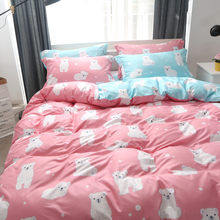Cute Animal Pattern AB Side Duvet Cover 3pcs 4pcs Bedding Set Kids Soft Cotton Bed Linens Single Twin Bedspreads Bedclothes 24(China)