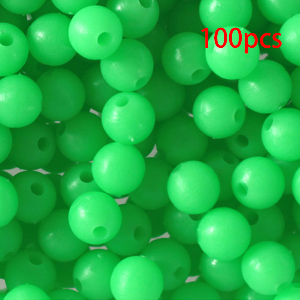100 PCS 8mm ROUND FLUORESCENT GLOW FISHING BEADS TACKLE FOR RIG MAKING CRAFTS