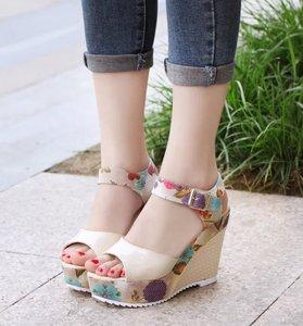 Image 4 - Frauen Sexy High Heels Sandalen Sommer Keile Schuhe Frau Druck Plattform Sandale Weibliche Mode Super Hohe Schuhe Schuhe
