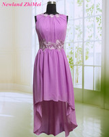 Cheap Purple Bridesmaid Dresses 2018 Custom Made New Design Short Front Long Back Chiffon Girl Dress for Wedding
