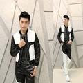 2017 korean male spring autumn black white splice leather jackets mens outerwear slim personalized leather clothing punk dance