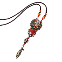 Vintage Necklace Women Accessories Long Ceramic Chain Necklaces Pendants Beads Handmade Jewelry Gift Woman Jewelry
